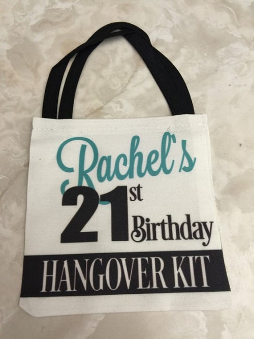 21 Birthday Hangover Kit Party Favor Tote Bag