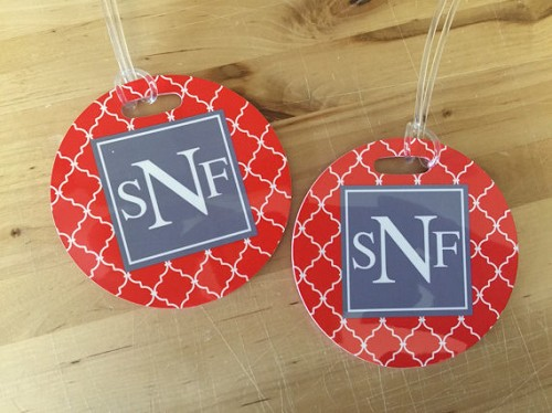 Monogram Luggage Round Tag with Address
