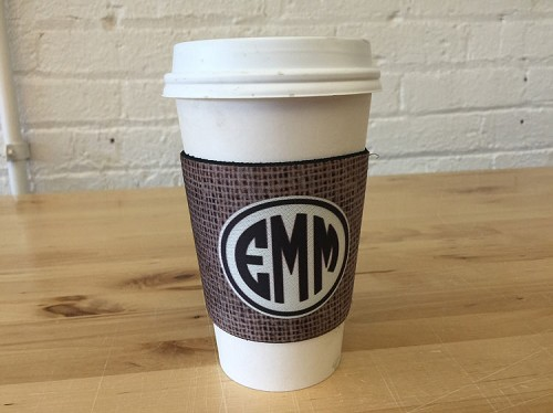 Grungy Coffee Cup Sleeve Cooler Monogrammed Cozy