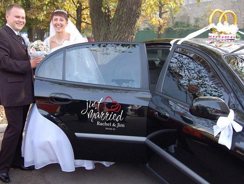 Just Married Personalized Car Decal, Wedding Car Sticker
