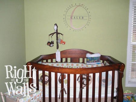Monogram Stamp Personalized Kids Vinyl Wall Decal