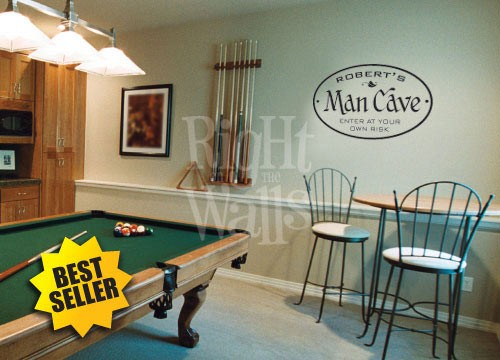 Man Cave Oblong Sign Wall Decal, Manly Custom Vinyl Wall Art