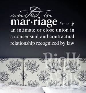 Marriage Definition Wall Decal, Family Vinyl Wall Art
