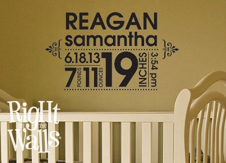Baby Announcement Nursery Wall Decal Vinyl Wall Art