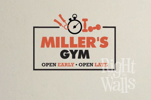 fitness custom home gym wall decals, vinyl art stickers