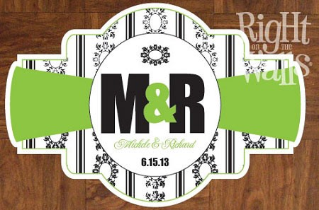 Ornate Monogram Personalized Dance Floor Decal, Wedding Dance Floor Sticker