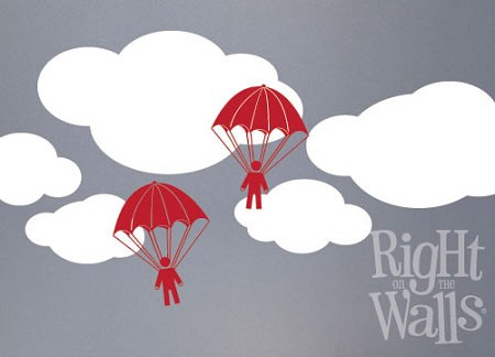 Parachute Men Wall Decal, Kids Vinyl Wall Art