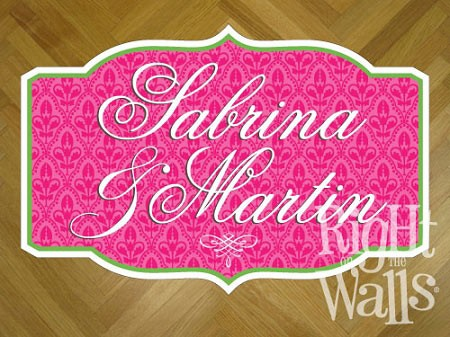 Fancy Pattern Wedding Dance Floor Decal, Personalized Dance Floor Sticker