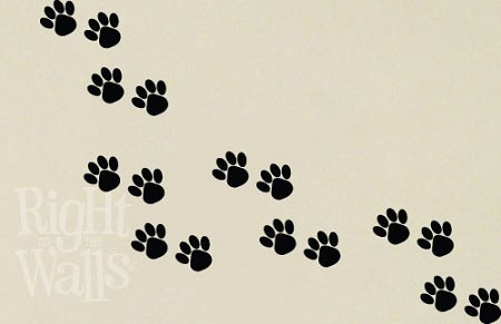 animal paw prints dog cat wall decals, vinyl art stickers