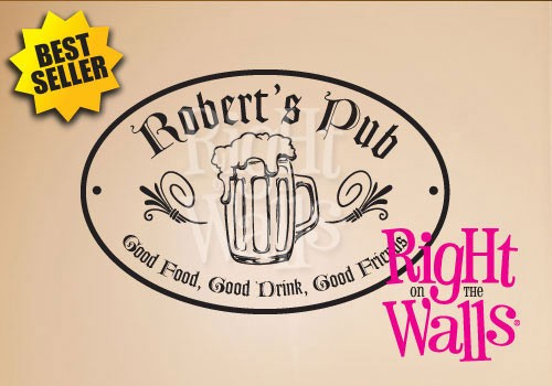 Pub Sign Wall Decal, Man Cave Manly Custom Vinyl Wall Art