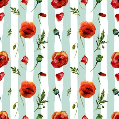 "Mint Stripes Poppy, Craft Vinyl 12"" x 12"" Sheet"