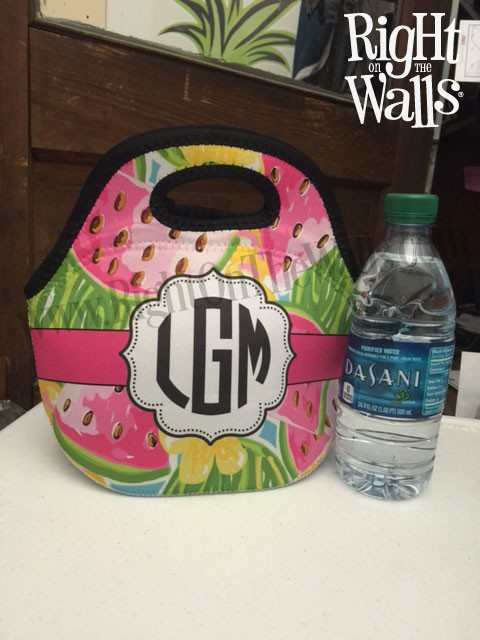 Preppy Monogrammed Lunch Bag, Personalized Lunch Tote, Custom Lunch Box