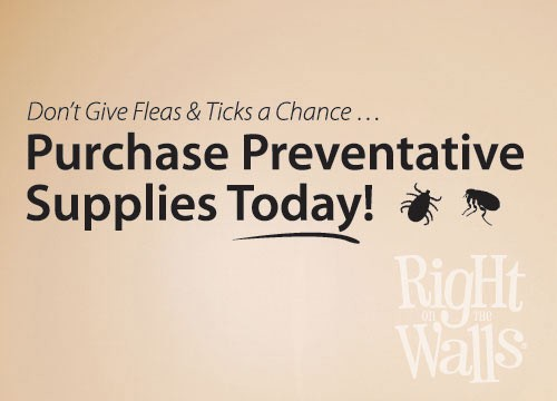 Prevent Fleas & Ticks Wall Decal, Veterinarian Waiting Room Reminder