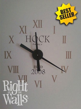 roman numbers clock wall decals, vinyl art stickers