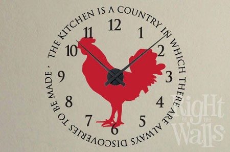 Rooster Kitchen Vinyl Wall Decal Clock