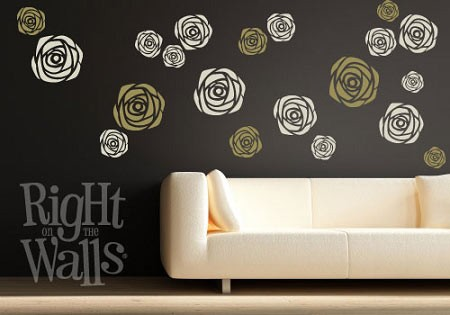 Rose Shapes Vinyl Wall Decal Set