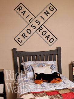 Railroad Crossing Sign Wall Decal, Kids Vinyl Wall Art