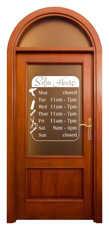 Beauty Salon Business Hours, Custom Window Glass Decal