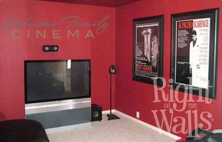 Family Cinema Theater Wall Decal, Family Vinyl Wall Art