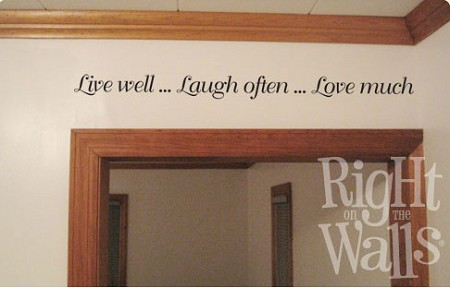Live Well Laugh Often Wall Quote, Family Vinyl Wall Art, Wall Decal