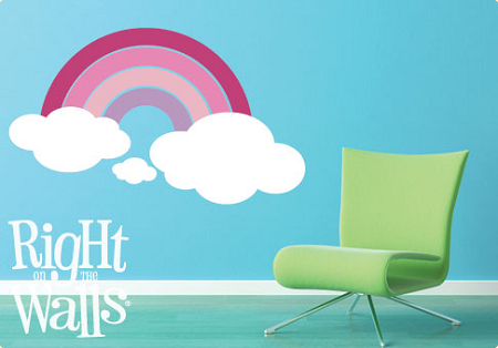 Pink Rainbow Wall Decal, Nursery Vinyl Wall Art