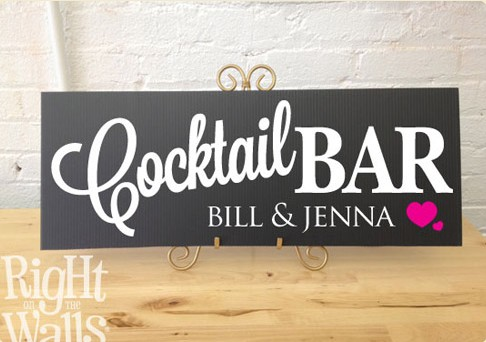 Cocktail Bar Wedding Sign, Personalized Wedding Sign, Table Sign