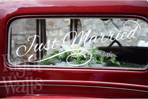 Just Married Car Decal, Removable Wedding Car Sticker
