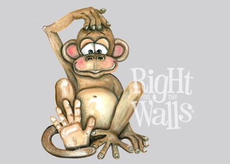 Silly Monkey Wall Decal, Printed Vinyl Wall Art Mural