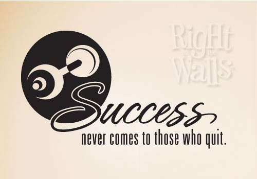 Success Weight Fitness Wall Decal, Home Gym Vinyl Wall Art