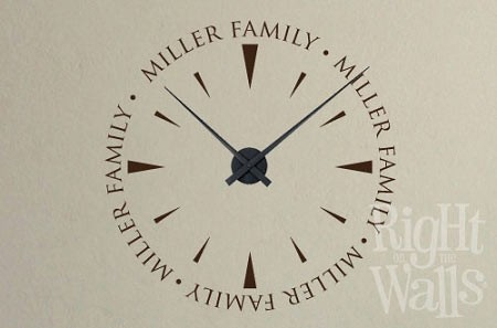 surname family clock wall decals, vinyl art stickers