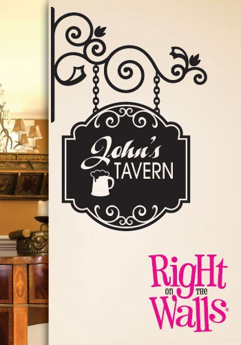 Tavern Bar Sign Wall Decal, Man Cave Manly Custom Vinyl Wall Art