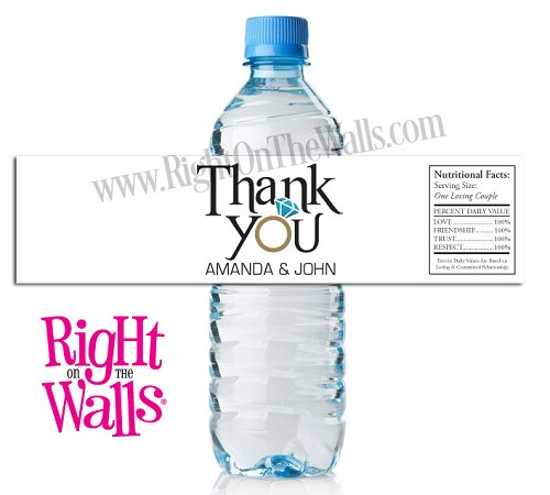 Thank You Wedding Water Bottle Labels, personalized party favor stickers