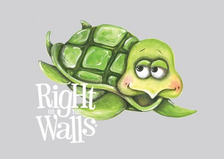 Sea Turtle Wall Decal, Printed Vinyl Wall Art Ocean Mural