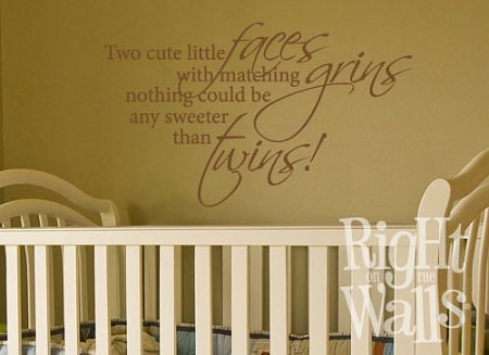Twin Grins Nursery Vinyl Wall Decal