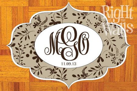 Vine Monogram Personalized Dance Floor Decal, Wedding Dance Floor Sticker