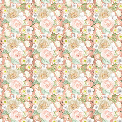 "Peach Flower Patterned Craft Vinyl 12"" x 12"" Sheet"