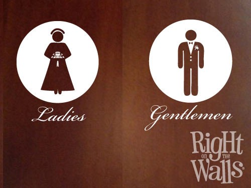 Wedding Bride & Groom Restroom Door Decals