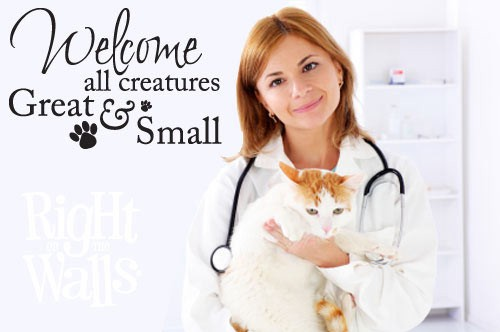 Welcome Creatures Veterinarian Wall Decal, Animal Wall Decor, Vinyl Wall Art