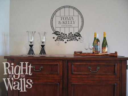 Personalized Wine Barrel Vinyl Wall Decal