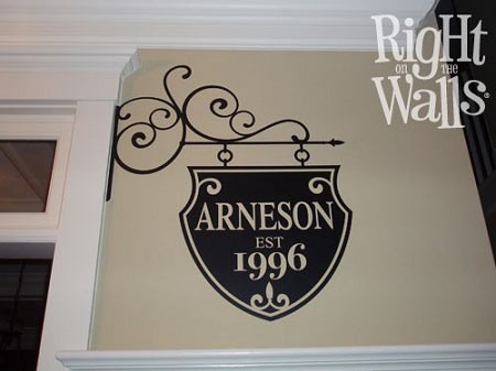 Wrought Iron Sign Family Wall Decal, Family Vinyl Wall Art